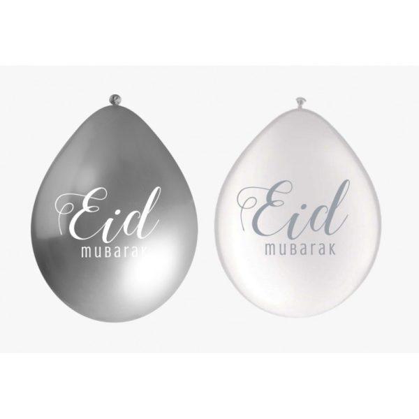 Ballonnen Eid Mubarak Wit/Zilver - 10 stuks